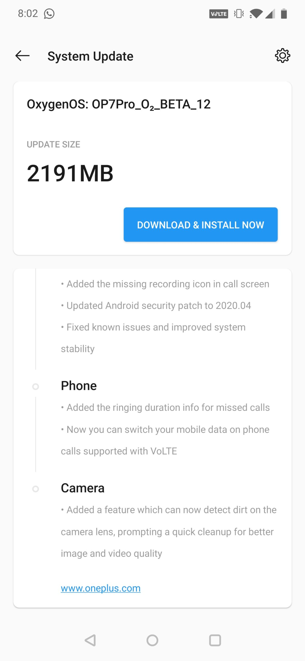 OxygenOS Open Beta 12 Update For Oneplus 7/7Pro New Camera feature And April 2020 Security Patch
