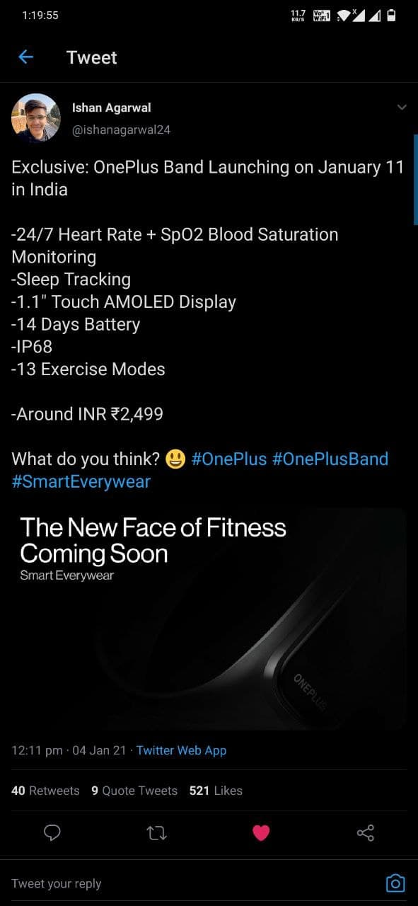 Oneplus Fitness Band launching on 11 January in India for Rs 2499