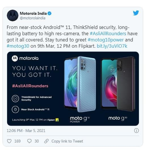 Motorola Moto G10 Power and Moto G30 India Launch on March 9